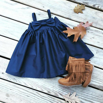 Navy girls bow dress,family photos, girls navy fall dress, Autumn fothoshoot, Fall weddings, flower girls dress, rustic weddings,shower gift