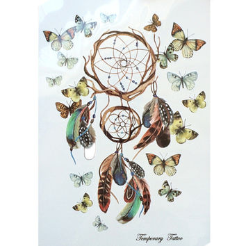 2016 NEW Fashion Waterproof Hot Temporary Tattoo Stickers 21 X 15 CM Dreamcatcher With Beautiful Butterfly
