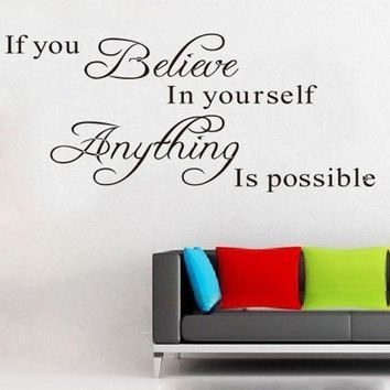 VONFC9 Super Deal wall sticker  1PC Believe Anything is Possible Inspirational Wall Sticker Decals DIY XT
