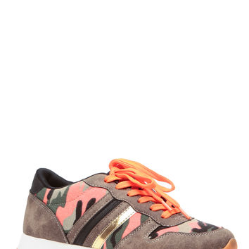 Orange Camo Lace Up Sneakers