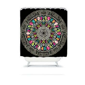AZTEC Tribal Shower Curtain Mandala Black Colorful Monogram Flower Circle Floral Pattern Bathroom Bath Polyester Made in the USA