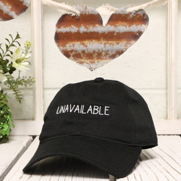Vintage UNAVAILABLE Baseball Cap Low Profile Dad Hats Baseball Hat Embroidery Black