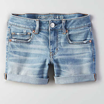 AEO Denim X Cuffed Midi Short, Medium Vintage