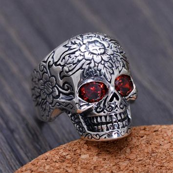 925 Sterling Silver Rings For Men Skull Ring With Natural Stone Red Garnet