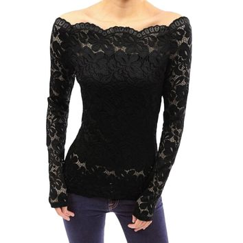 Blusas Spring Sexy Women Off Shoulder Slash Neck Lace Solid Shirts Long Sleeve Slim Casual Basic Top 5XL Plus Size Blouse