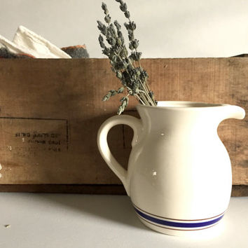 Vintage french jug, milk pitcher, porcelain milk jug pitcher, primitive decoration