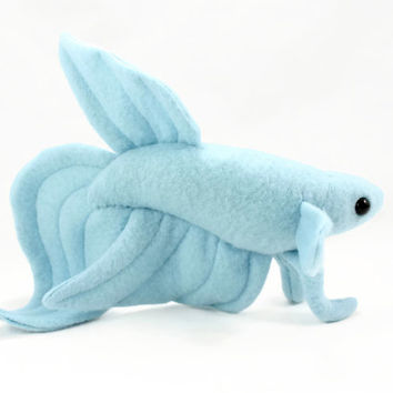 Baby Blue Veil Tail Betta Fish Stuffed Animal, Plushie, Plush Toy, Stuffed Fish