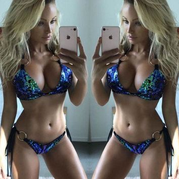 Sexy discoloration metal bandage sequins two piece bikini swimsuit