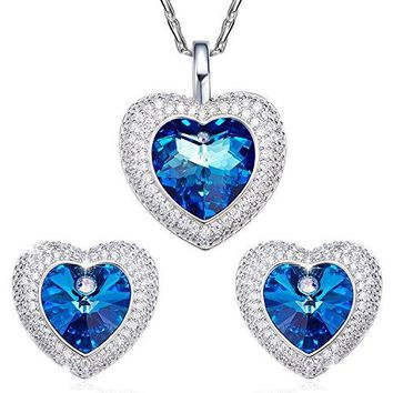 SILYHEART Heart of the Ocean Fashion Love Pendant Necklace Earrings Women Jewelry Set with Swarovski Crystal