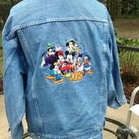 Vtg Disney Mickey Mouse Denim Jean Jacket Disneyworld Disneyland Disney Store Mickey Donald Duck Pluto Disney Oversized Boyfriend /SuzNews *