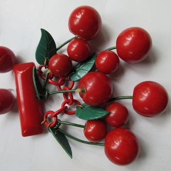 Deco WWII Era Red Bakelite Cherries Pin and Earrings  1930s 1940s