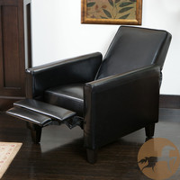 Christopher Knight Home Darvis Black Leather Recliner Club Chair | Overstock.com