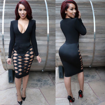 Deep Plunge Long Sleeve Cut Out Bodycon Midi Dress