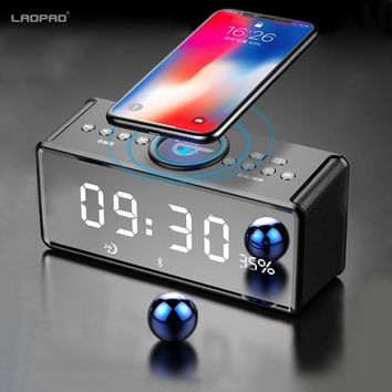 Portable Wireless Speaker Bluetooth speaker Wireless Charger for Phone iPhone FM Radio Alarm Bass Sound 3D Stereo Music  XIAOKOA