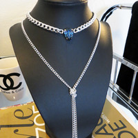 The Royalty Necklace - Swarovski Pear Crystal on Silver Chain Necklace