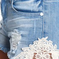 Lacy Cut Off Denim Shorts - LoveCulture