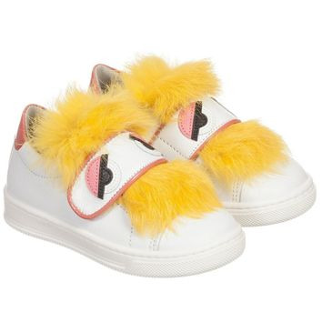 Fendi Baby Girls White 'Monster' Sneakers with Fur