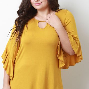 Stretch Knit Keyhole Ruffle Bell Sleeve Top