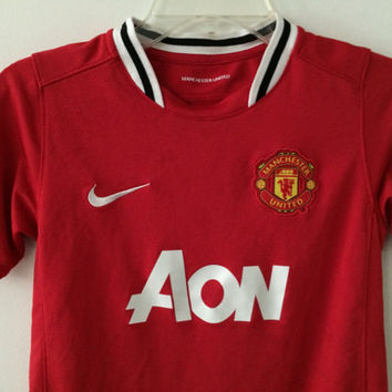 Sale!! Vintage Nike Manchester United Home Soccer Jersey Mufc Football Shirt Size Boys Medium Free shipping within the USA