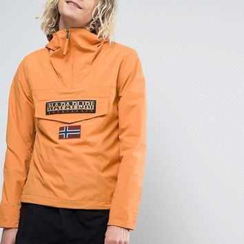 Napapijri Rainforest Overhead Jacket Hooded Layered Nylon in Orange at asos.com