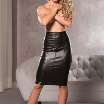 Faux Leather Knee-Length Pencil Skirt