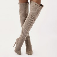 Roulette Studded Over The Knee Boots in Taupe Faux Suede