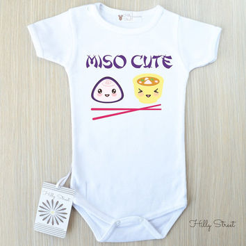 Funny Miso Cute Baby Bodysuit. Japanese Sushi Smart Baby Shower Gift. Adorable Stocking Stuffer.