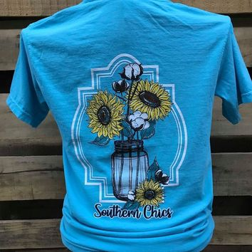 Southern Chics Cotton Mason Jar Sunflowers Comfort Colors Bright Girlie T Shirt