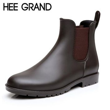 HEE GRAND Sexy Rain Boots 2017 Women Ankle Boots Casual Platform Shoes Woman Slip On C