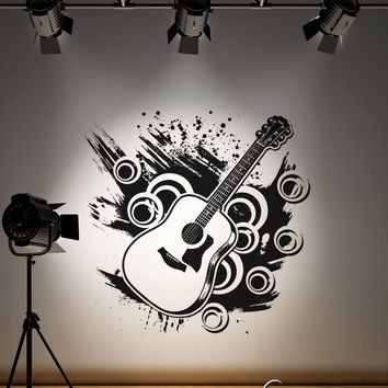 Vinyl Wall Decal Sticker 70's Inspired Guitar #OS_AA135