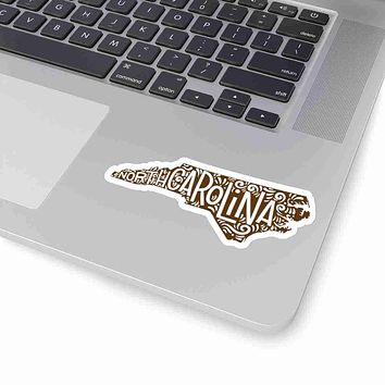 North Carolina State Shape Sticker Decal - Brown