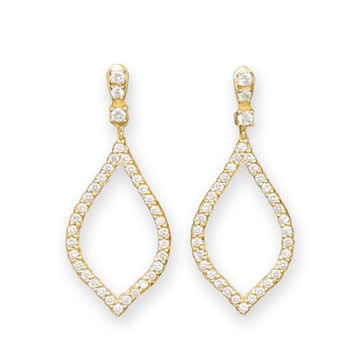Luscious 14k Gold Plated CZ Marquis Earrings