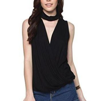 Everly Women's Sleeveless Mock Neck Tunic with Wrap Front