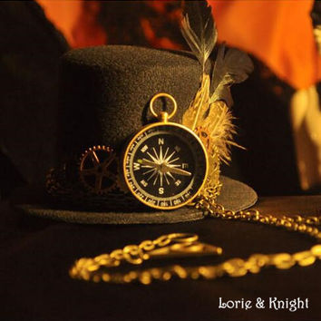 Steampunk Gear & Clock Feather Top Hat