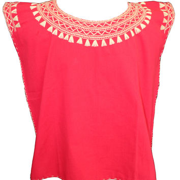 Mexican Peasant Stitched Blouse - Red