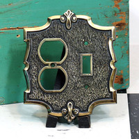 Vintage Double Combination Switch and Outlet Cover . Goldtone Metal Hollywood Regency