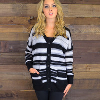 Uphill Trails Gray Striped Cozy Sweater Cardigan
