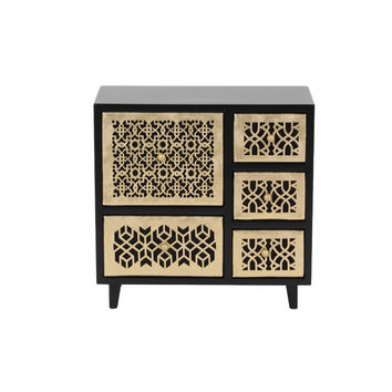 Benzara Ava Wooden Jewelry Chest, Golden And Brown