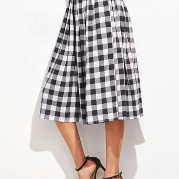 Hidden Pocket Detail Pleated Checkered Skirt | MakeMeChic.COM