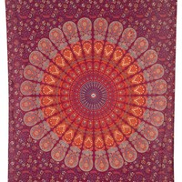 The Aleeta Orange Red Mandala Boho Bohemian Twin Tapestry
