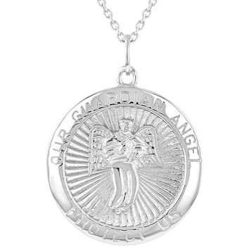 """925 Sterling Silver Guardian Angel Medal Religious Pendant Necklace 18"""""""