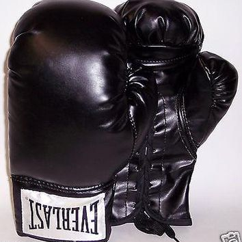 EVERLAST PAIR OF BLACK AUTOGRAPH BOXING GLOVE GLOVES MMA 14 OZ