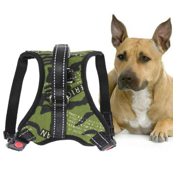 Dog Basic Halter Harness Vest Pet Products S/M/L/XL Comfortable Nylon Camouflage Pet Harness with Traction Rope