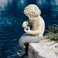 Young Little Sitting Mermaid Garden Statue with Oyster & Pearl