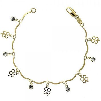 Gold Layered 03.63.0205.07 Charm Bracelet, Four-leaf Clover Design, with White Cubic Zirconia, Polished Finish, Gold Tone