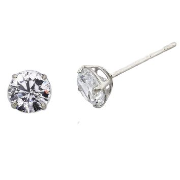 14K Solid Gold set with Intensely Radiant Round Diamond Veneer Cubic Zirconia Solitaire light basket Settings Stud Earrings. 635E14KL