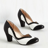 Twentieth Century Foxtrot Heel in Black and White | Mod Retro Vintage Heels | ModCloth.com