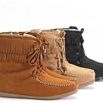 New Women's Fringe Boots Moccasin Ankle Booties Flat Faux Suede Size 5.5 to 11