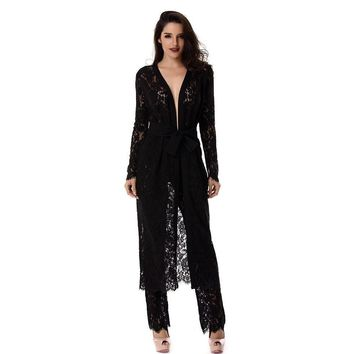 Black Lace Duster And Pants Set