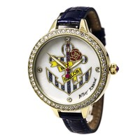 Betsey Johnson BJ00419-02 Women's Anchor Striped White MOP Dial Navy Blue Leather Strap Watch
